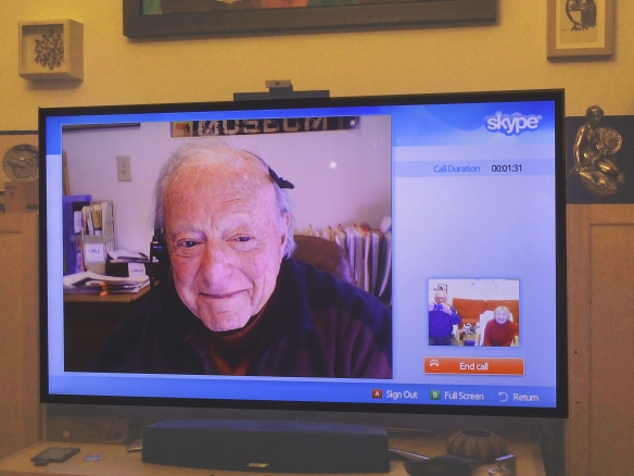 Near his 95th birthday, Mort Schindel gave us a surpise Skype call  April, 2013